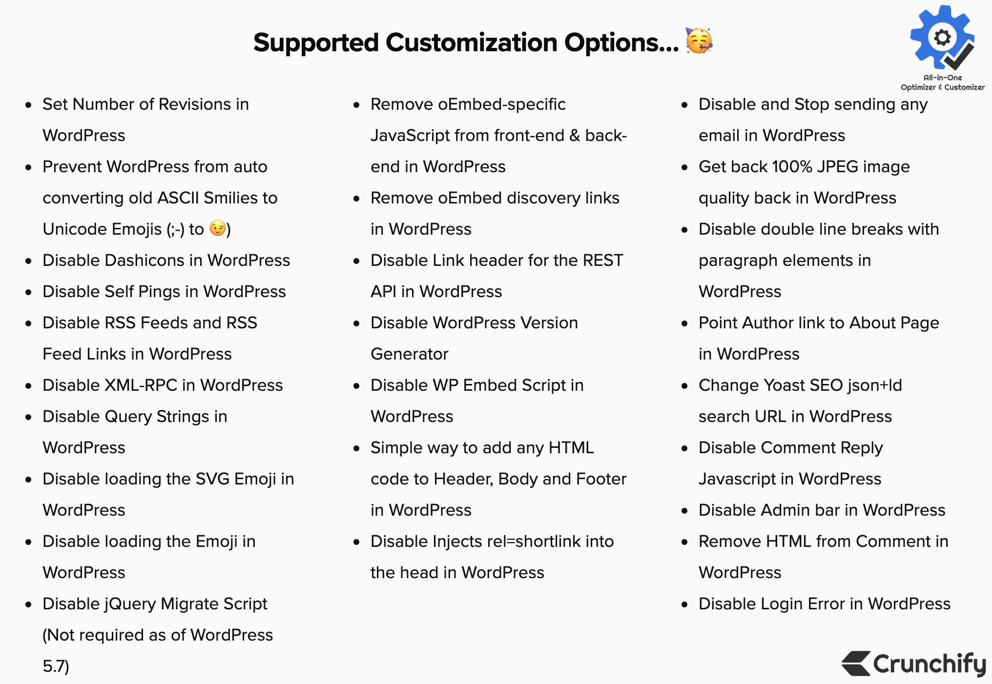 All-in-One Optimizer & Customizer - Supported Customization Options