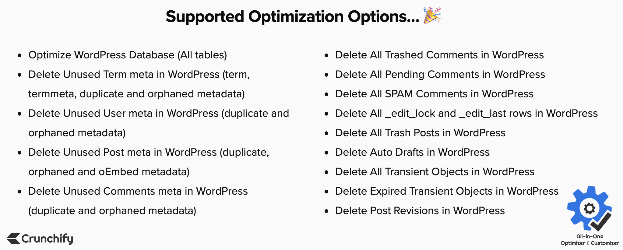All-in-One Optimizer & Customizer - Supported Optimization Options