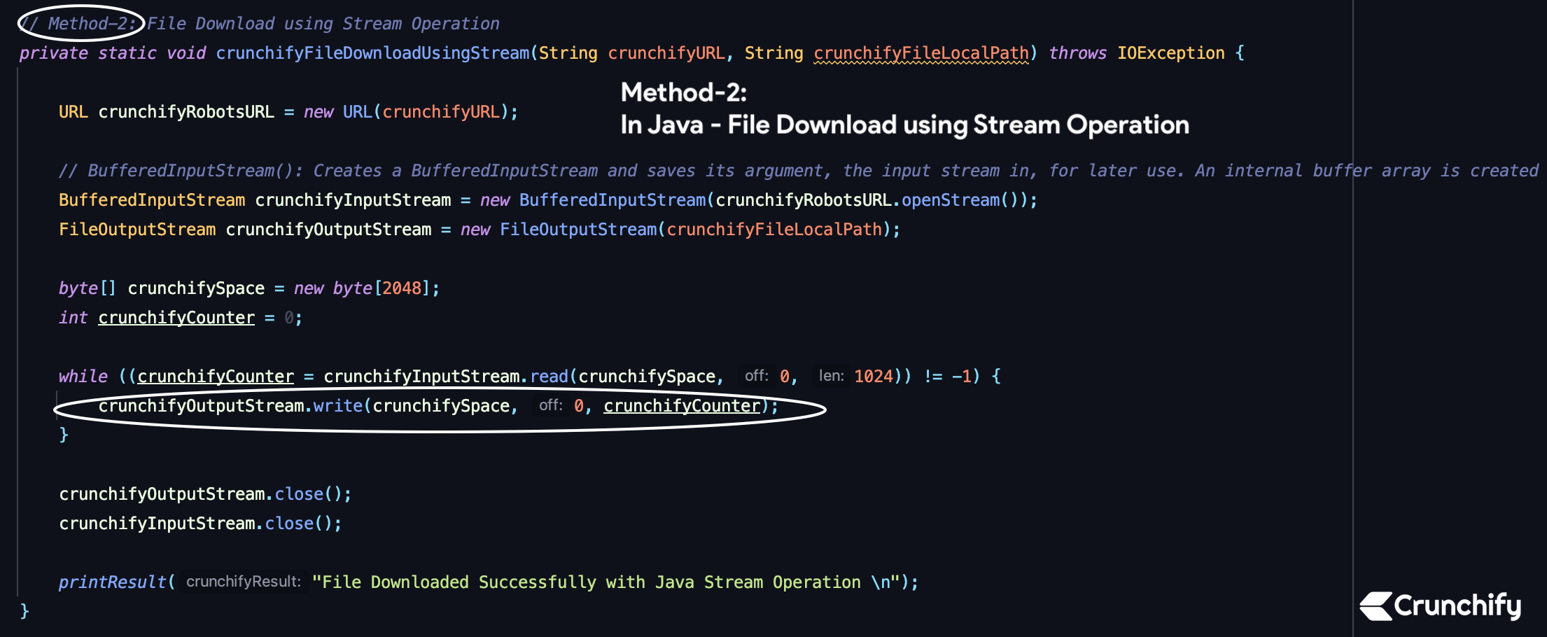In Java - File Download using Stream Operation