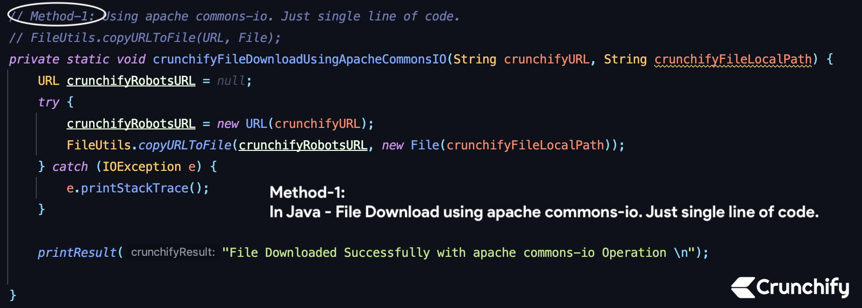 In Java - File Download using apache commons-io. Just single line of code.