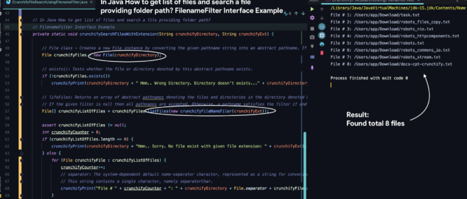 In Java How to get list of files and search a file providing folder path? FilenameFilter Interface Example