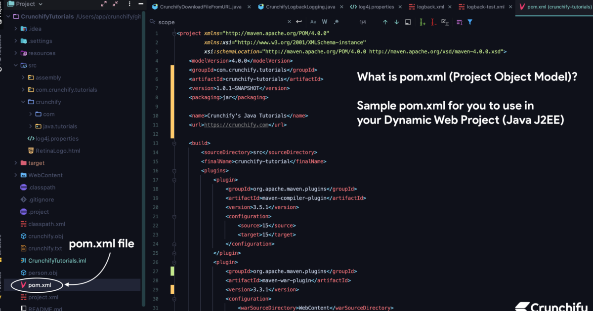 What is pom.xml (Project Object Model)? Sample pom.xml for you to use in your Dynamic Web Project