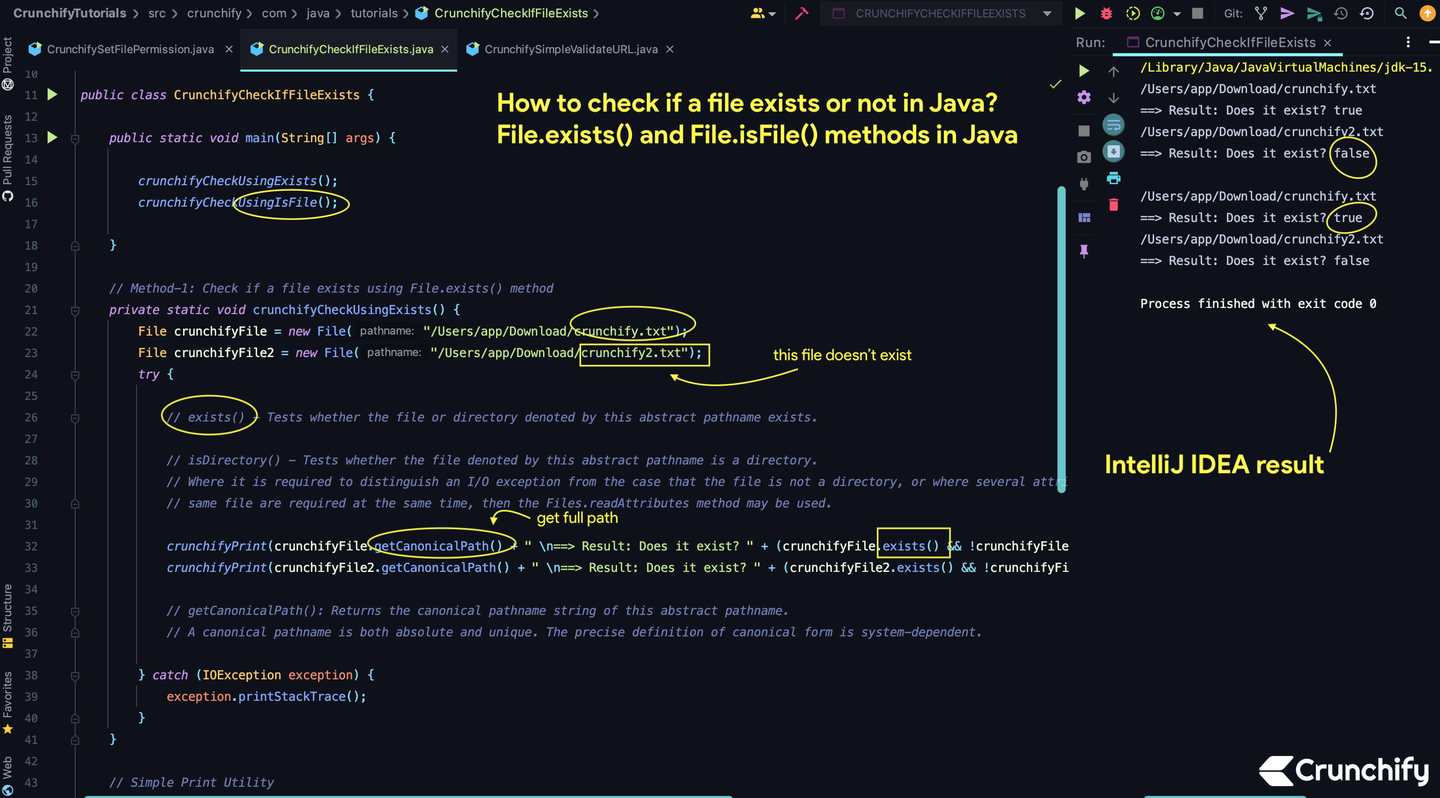 How to check if a file exists or not in Java? File.exists() and File.isFile() methods in Java