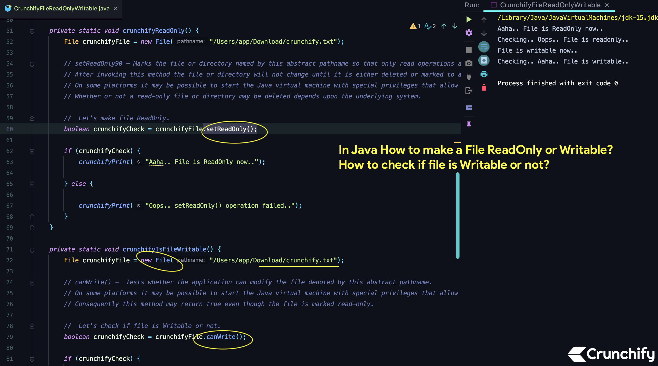 In Java How to make a File ReadOnly or Writable? How to check if file is Writable or not?