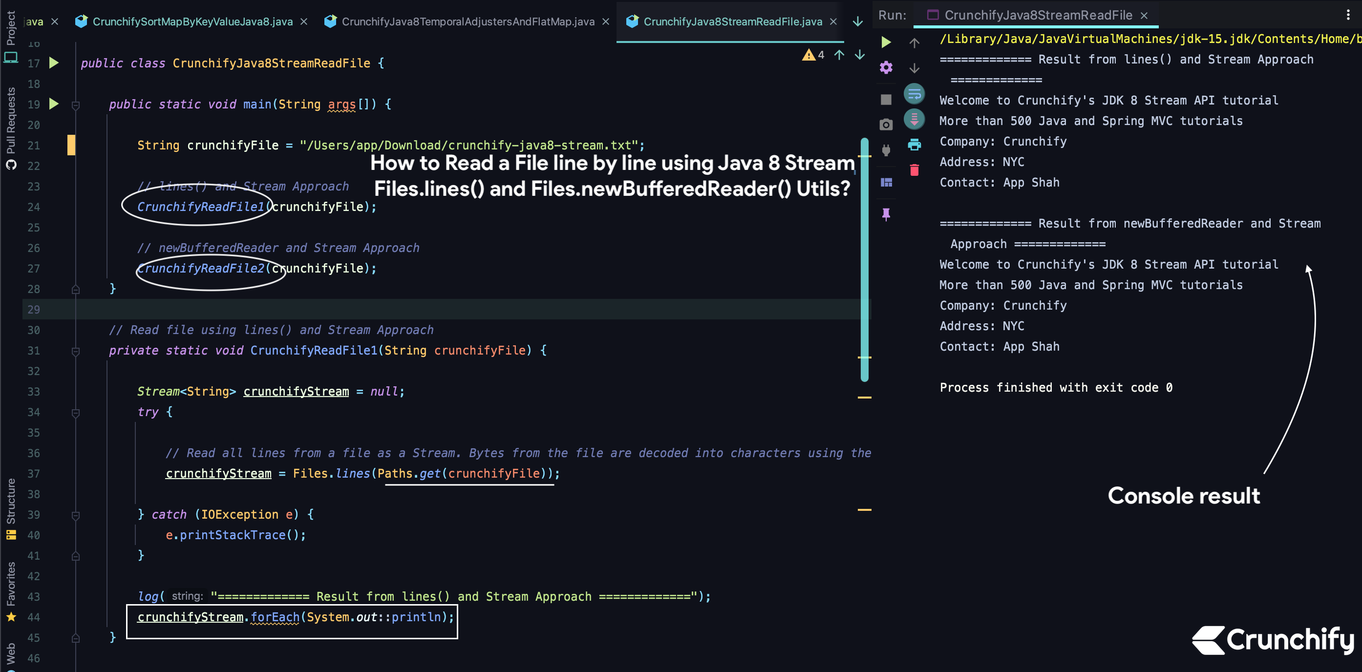 How to Read a File line by line using Java 8 Stream - Files.lines() and Files.newBufferedReader() Utils