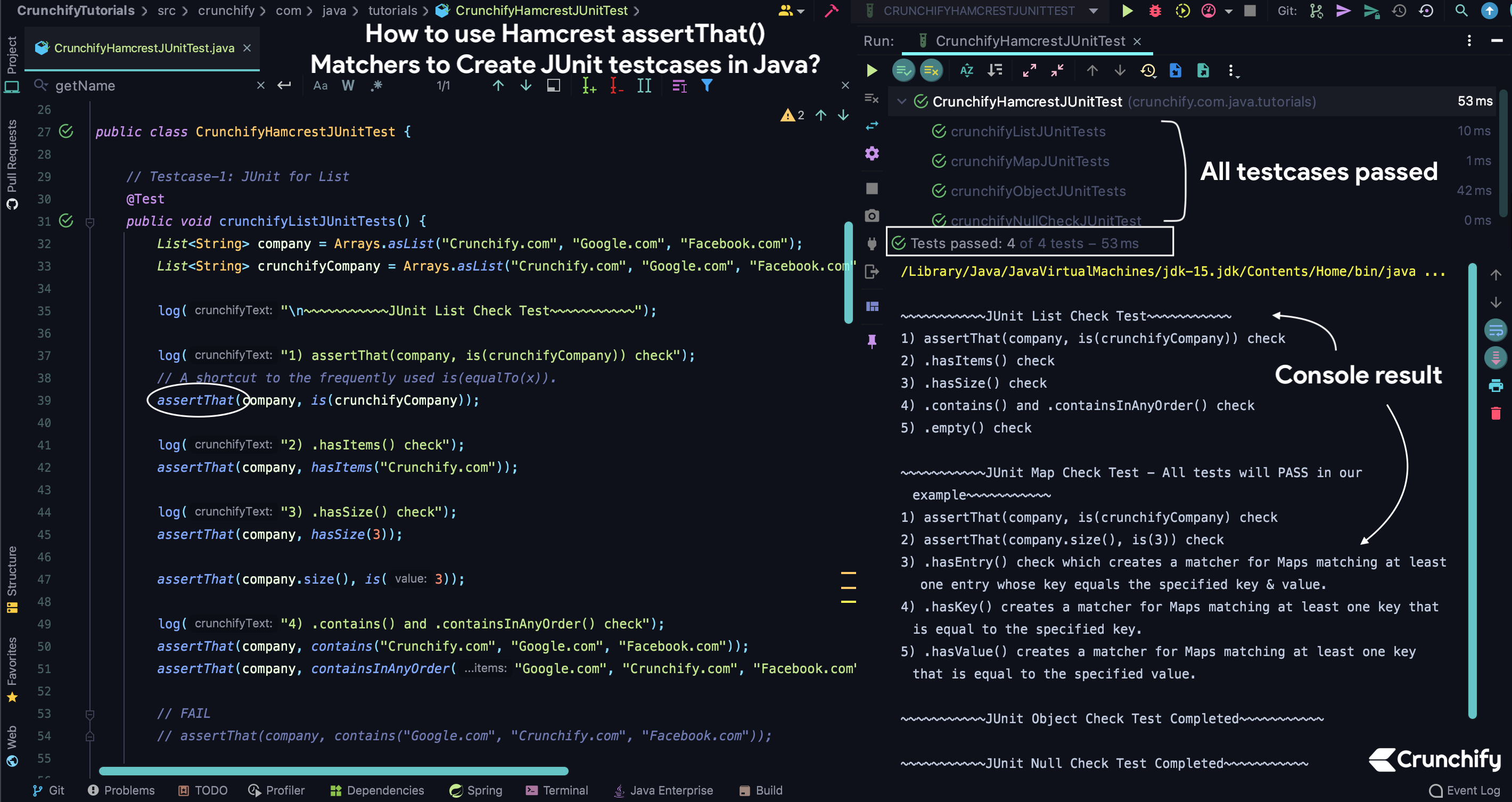 How to use Hamcrest assertThat() Matchers to Create JUnit testcases in Java