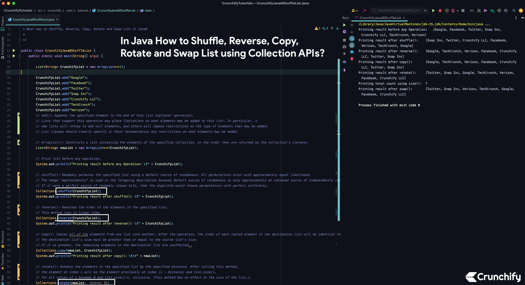 In Java How to Shuffle, Reverse, Copy, Rotate and Swap List using Collection APIs?