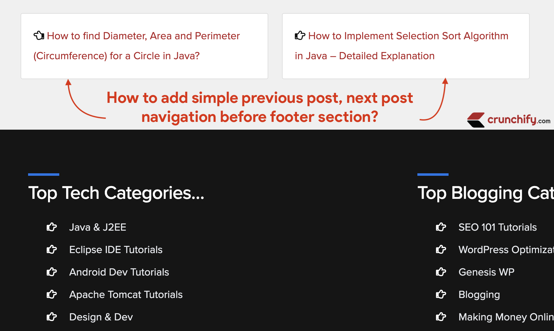 How to add simple previous post, next post navigation before footer section?